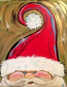 Easy Canvas Painting Ideas for Christmas - Hand Painted Adorable Santa Face - Christmas Paintings On Canvas, Holiday Canvas, Santa Paintings, Tree Paintings, Easy Paintings, Christmas Art, Christmas Projects, Holiday Crafts, Christmas Decorations