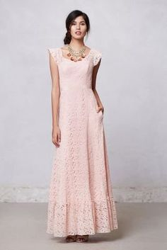 Flounced Lace Maxi Dress - Anthropologie.com