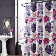 Add a burst of color to your bath with the lovely Midori Shower Curtain. Featuring an oversized floral print in a brilliant color palette that includes fuchsia, lavender, and teal, this bold, beautiful shower curtain will enliven any space. Floral Shower Curtains, Bathroom Decor, Curtains, Shower Curtain, Interior, Redecorating, Home Decor, Bed Bath And Beyond, Bathroom Design