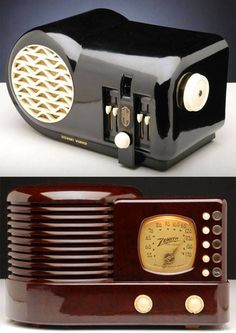 Art Deco bakelite Radios ca.1930. https://www.pinterest.com/correasteven/old-radios/