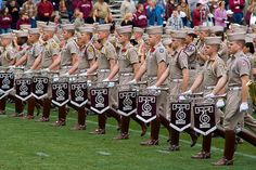 The front line of the Fightin' Texas Aggie Band