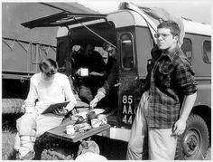 Kinloss MRT - at the Sigs wagon. In here Abbs Hay, George Bruce, Archie Melrose & David Whalley. 1973 ?