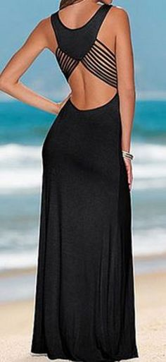Awesome Design! Sexy U Neck Cut Out Sleeveless Solid Color Black Maxi Dress For Women
