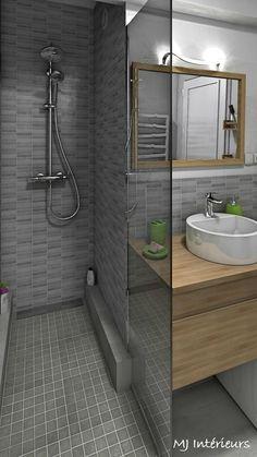 A walk-in shower replaced the bathtub: Modern style bathroom by MJ Interiors Bathroom Spa, Bathroom Layout, Bathroom Interior Design, Modern Bathroom, Small Bathroom, Attic Bathroom, Bathroom Ideas, Glamorous Bathroom, Bad Styling