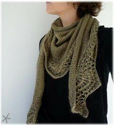 Abyssal shawl worn as a triangle scarf