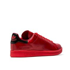 SMITH SNEAKERS COLOR RED-red leather adidas raf simons stan smith sneakers.  perforated r onlateral side. black back leather patch with adidas logo and  stan ... 3929bccbe2c