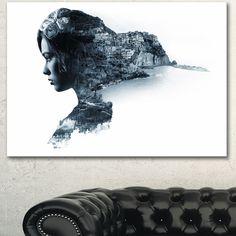 Designart 'Woman Portrait Double Exposure' Modern Portrait Canvas Wall Art