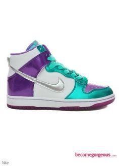 Metallic Nike Dunk High Top Sneakers    WANT