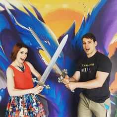 First photo opp with my brother @ryonday in the @geekandsundry Petco booth! Come dress up and take a pic! #SDCC by feliciaday
