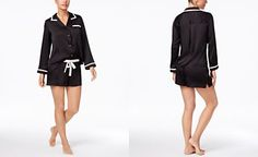 kate spade new york Contrast-Trimmed Charmeuse Top And Shorts Pajama Set