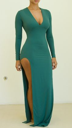 Plain High Slit Charming V Neck Maxi Dress Sexy Outfits, Sexy Dresses, Cute Dresses, Beautiful Dresses, Dress Outfits, Fashion Killa, Look Fashion, Dress Fashion, Fashion Clothes