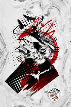 Polkatrash Wolf Wölfe Tattoo Design Wolf Tattoo Design, Tattoo Designs, Trash Polka Art, Trash Polka Tattoo, Satanic Tattoos, Halloween Makeup, Sleeve Tattoos, Tatting, Maori