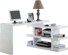 Bureau volta avec étagère amovible coloris blanc code