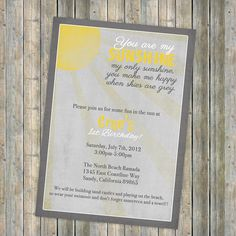 My Sunshine birthday invitation Vintage by freshlysqueezedcards, $13.00