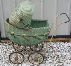 Vintage South Bend Toy Green Wicker Baby Carriage Buggy in Antiques, Home & Hearth, Baby Carriages & Buggies Baby Kind, Vintage Pram, Vintage Dolls, Baby Furniture, Wicker Furniture, Prams And Pushchairs, Baby Buggy, Dolls Prams, Nostalgia