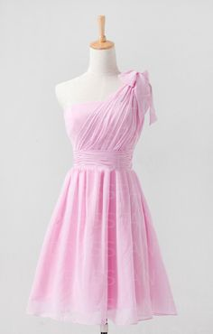 Bridesmaid dress/knee-length/one-shoulder/wedding/party/homecoming/baby pink/light pale pink on Etsy, $66.00 .... This could be in purple...