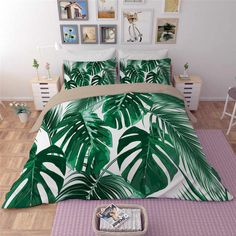 Flamingo flower leaf Bedding Sets Tropical Plant Quilt Cover King Size Home textile Bed Sets Flower Print Pink Green Bedclothes - AliExpress Bed Duvet Covers, Duvet Sets, Duvet Cover Sets, Tropical Bedding, Tropical Bedrooms, Bedroom Themes, Bedroom Decor, Pink Loveseat, Bedding