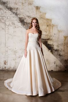Tara la Tour strapless peplum wedding dress