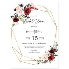 Burgundy Bridal Shower Invitation | Forever Your Prints
