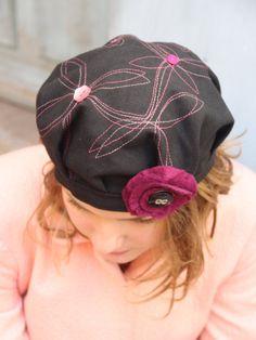 Unique french beret. Womans black beret with fancy stitching. Womans fabric beret. Fabric hat. Foldable hat. Delisa designer hat.