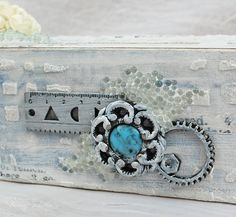 """imagine"" Pencil Box by Tracey Sabella for Helmar. Mixed media, Wild Orchid Crafts, 13 Arts, Tim Holtz, Helmar Decoupage and Craft Paste, Helmar 450 Quick Dry Adhesive, Helmar Liquid Scrap Dots, Helmar Craft and Hobby PVA Glue, 7Gypsies, 7 Gypsies,"