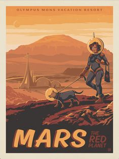 Anderson Design Group – Space Travel – Mars: Olympus Mons Vacation Resort - Travel tips - Travel tour - travel ideas Arte Sci Fi, Sci Fi Art, Space Girl, Space Age, Vintage Space, Science Fiction Art, Art Graphique, Space Travel, Vintage Travel Posters