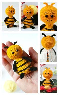 Crochet Bee, Learn To Crochet, Crochet Crafts, Crochet Toys, Free Crochet, Bee Free, Step By Step Crochet, Amigurumi Doll, Free Pattern