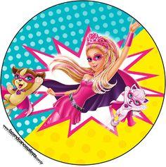 Toppers para Cupcakes e Docinhos Barbie Super Princesa--- http://fazendoanossafesta.com.br/2015/07/barbie-super-princesa-kit-festa-infantil-gratis.html/