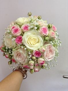 Vintage Shabby Chic Bridal Bouquet using Ivory Avalanche, Pale Pink Sweet Avalanche and Mini Eden Roses with Gypsophila