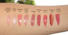 Chanel Glossimer swatches