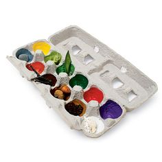 Paint the inside of an egg carton, then have kids go on a nature scavenger hunt to find things that match the colors to put in each section.