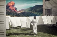 Joseba Elorza The woman's reaction is more about the laundry than the danger happening in the distance.