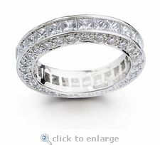 DeLeon Channel Set Princess Cut and Pave Cubic Zirconia Eternity Band by Ziamond. #ziamond #cubiczirconia #princesscut #pave #eternity #band #wedding #ring