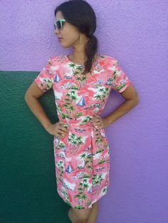 Vintage HAWAIIAN Print Dress 1980's CAROL by GarageEccentrica