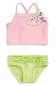 Sol Swim 'Glamour Fish' Two-Piece Tankini Swimsuit (Baby Girls)