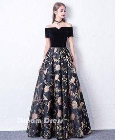 Black off shoulder long prom dress, black evening dress #promdresses #shopping #fashion #dresses #evening
