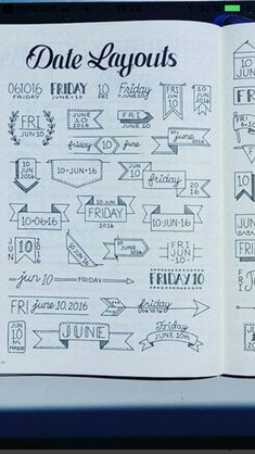Date layout doodle Date layout doodle Bullet Journal Headers, Bullet Journal Banner, Bullet Journal Writing, Bullet Journal 2020, Bullet Journal Aesthetic, Bullet Journal Ideas Pages, Bullet Journal Layout, Bullet Journal Inspiration, Diy Planner