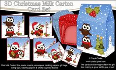 **COMING SOON** -  This lovely 3D Christmas Little Hoot Owls Cards in a Mini Milk Carton Bumper Kit will be available here within 12 hours - http://www.craftsuprint.com/carol-clarke/?r=380405