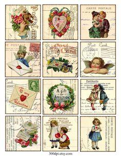 Vintage imprimable Tags Digital Collage feuille - Saint-Valentin - grandes images carrées 2.5 pouces étiquette éphémères fond télécharger et imprimer par 300dpi sur Etsy https://www.etsy.com/be-fr/listing/157675708/vintage-imprimable-tags-digital-collage