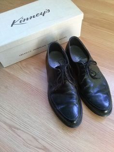 Vintage 1960s Mens Shoes Oxford Black Dress Shoes by bycinbyhand