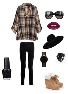 """""""Untitled #352"""" by i-would-prefer-not-to on Polyvore featuring Bobeau, J Brand, JustFab, Bottega Veneta, Maison Michel, Topshop and OPI"""