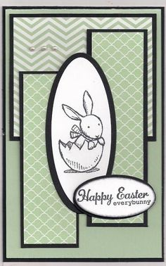 handmade Easter card ... cardmaking sketch:Mojo Monday#339 ... Tall  Skinny by bmbfield ... monochromatic greens using patterned papers and card stock ... black mats and ink ... crisp look ... bunny in a cracked egg ... like it!