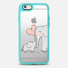 Mom and Baby Elephant Love - Pink Heart - New Standard Case