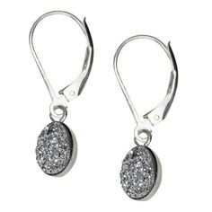 Oval Druzy Drop Earrings - Silver
