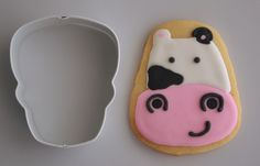 Friendly Cow Sugar Cookie from a Halloween Skull Cookie Cutter