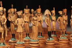 German 19th-Century Wooden Military Set, Mid-19th c. Germany or Austria Wood King: 3 3/4 in.