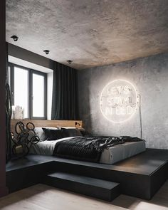 Elevated bed with a view. Elevated bed with a view. Elevated bed with a view. Elevated bed with a vi Vintage Bedroom Decor, Home Decor Bedroom, Bedroom Ideas, Bedroom Wall, Bed Room, Bedroom Lamps, Bedroom Designs, Budget Bedroom, Ikea Bedroom