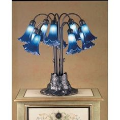 Meyda Tiffany 14397 Stained Glass / Tiffany Table Lamp from the Lilies Collection, Blue (Steel)