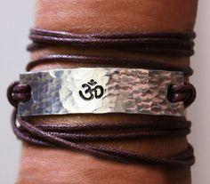 OM bracelet, wrap bracelet, ohm bracelet, yoga, yoga jewelry, om, custom bracelet, secret message bracelet