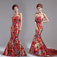 Wholesale Top Sale!Classical Red/Yellow Chinese Embroidery cheongsam Dragon Phoenix Image Mermaid wedding dress,Lady party Long Training Prom eve, Free shipping, $141.37/Piece | DHgate Mobile
